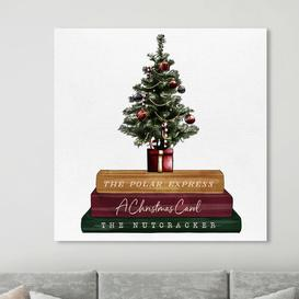 image-'Christmas Tree and Storytime Books' Painting on Wrapped Canvas East Urban Home Size: 109 cm H x 109 cm W x 4 cm D
