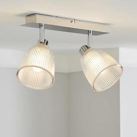 image-Bremont 2 Light Ribbed Glass Bathroom Spotlight Silver