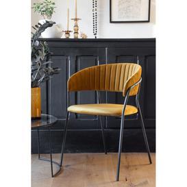 image-Curved Back Velvet Dining Chair In Golden Ochre