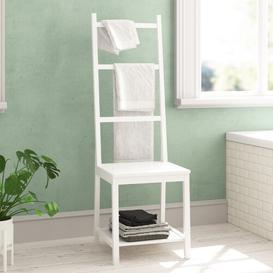 image-Theodore Bamboo Free-Standing Towel Rack Longshore Tides Finish: White