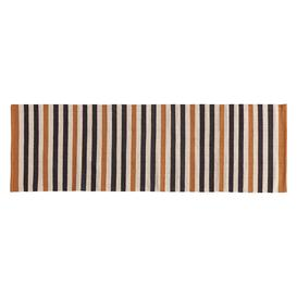 image-Raya Navy Blue And Tan Cotton Stripe Flatweave Runner  65 X 200Cm, Navy And Tan