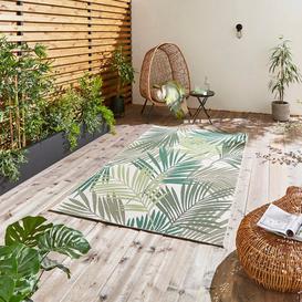 image-Miami Leaf Print Indoor Outdoor Rug Dark Green