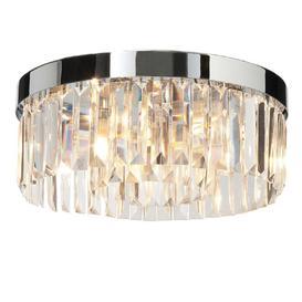 image-Saxby 35612 Crystal Bathroom Flush Ceiling Light Polished Chrome