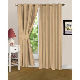 image-Irondale Eyelet Semi Sheer Curtains ClassicLiving Colour: Latte, Panel Size: Width 168cm x Drop 229cm