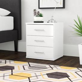 image-Linares 3 Drawer Bedside Table Wrought Studio Finish: Alpine White