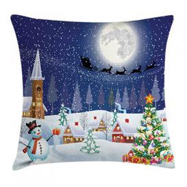 image-Elef Christmas Winter Landscape Outdoor Cushion Cover Ebern Designs Size: 45cm H x 45cm W x 0.5cm D