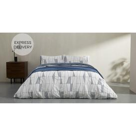 image-Bakari Cotton Duvet cover + 2 Pillowcases, King, Indigo UK