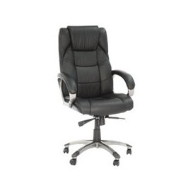 image-Next-Day Clipper Black Leather Faced Executive Chair, Free Standard Delivery
