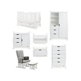 image-Obaby Stamford Luxe Cot Bed 7 Piece Nursery Furniture Set - White