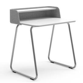image-Secretary Desk Sedus Frame Colour: Chrome, Top Colour: Light Grey/White, Wireless Charger Type: With EU Wireless Charger