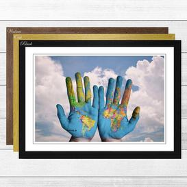 image-'Globe Hands World Map' Framed Photographic Print Big Box Art Frame Colour: Walnut