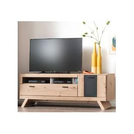 image-Calais Wooden Small TV Unit In Planked Oak With Legs
