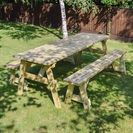 image-Sol 72 Outdoor Wooden Picnic Bench Sol 72 Outdoor Finish: Light Green, Table Size: 210cm L x 142cm W