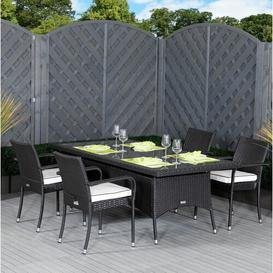 image-Farr 4 Seater Dining Set with Cushions Sol 72 Outdoor Colour: Black/Vanilla