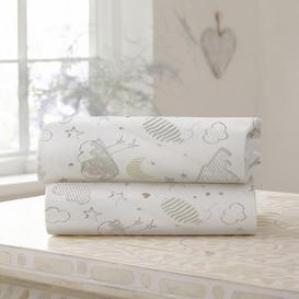 image-Sleep Tight Pack of Two Moses Basket Fitted Sheets Cream