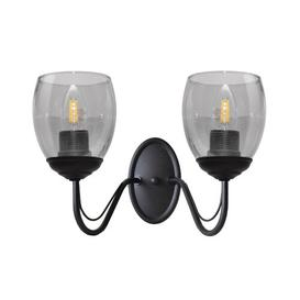 image-Annie 2-Light Candle Wall Light Marlow Home Co. Fixture Finish: Black, Shade Colour: Smoke Transparent