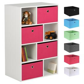 image-Hartleys White 8 Cube Kids Storage Unit & 4 Easy Grasp Box Drawers - Pink