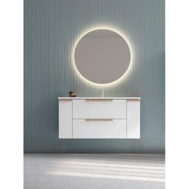 image-Lyric 120mm Wall Hung Single Vanity Unit Isabelline Colour: White
