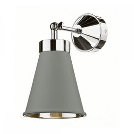 image-David Hunt HYD0739C The Hyde 1 Light Wall Light In Powder Grey And Chrome