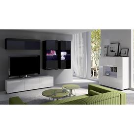 image-Calabrini Set 6 Entertainment Unit - Wall Unit with Sideboard Cabinet Black Gloss and White Gloss 240cm