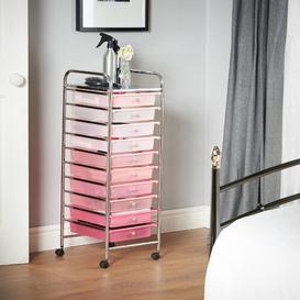 image-Clark 10 Drawer Storage Utility Cart Symple Stuff Colour: Pink Ombre