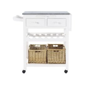 image-White Wood Kitchen Trolley with Wine Rack Sorgues