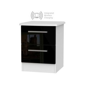 image-Knightsbridge 2 Drawer Bedside Cabinet with Integrated Wireless Charging - High Gloss Black and White