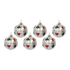 image-Gisela Graham - Playing Card Glass Bauble - Set of 6 - Matt White