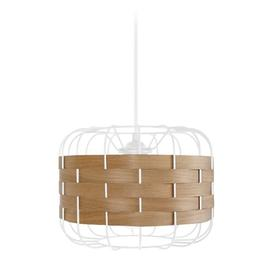 image-Kimbrough 1-Light Drum Pendant Brambly Cottage Finish (of the fixture): White, Shade Colour: White/Oak