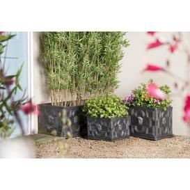 image-Fiberglass Planter Box Freeport Park Size: 34cm H x 74cm W x 38cm D, Colour: Black