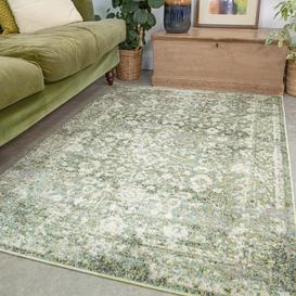 image-Green Distressed Traditional Rug - Vivid