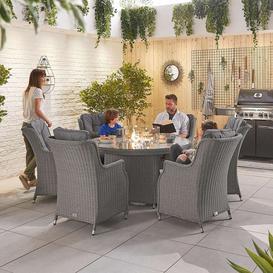 image-Nova Garden Furniture Thalia Slate Grey Rattan 6 Seat Round Dining Set with Fire Pit Table