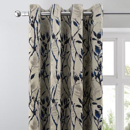 image-Zen Blue Jacquard Eyelet Curtains Blue