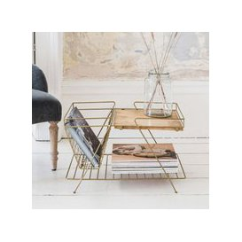 image-Antiqued Brass and Wood Magazine Rack