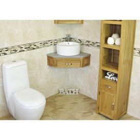 image-Cranmer Compact Solid Oak 550mm Wall Mounted Vanity Unit Belfry Bathroom Top Finish: Grey Quartz