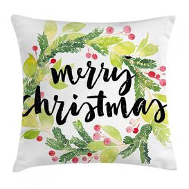 image-Iulger Christmas Watercolour Wreath Outdoor Cushion Cover Ebern Designs Size: 45cm H x 45cm W