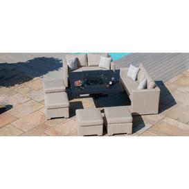 image-Maze Lounge Outdoor Fuzion Taupe Fabric Cube Sofa Set with Fire Pit