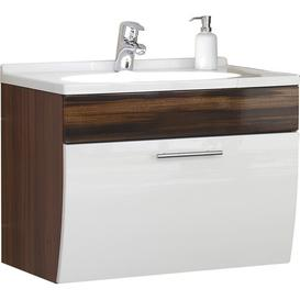 image-70cm Wall Mounted Vanity Unit with Storage Cabinet Belfry Bathroom Base Finish: White - Walnut Effect