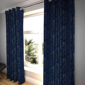 "image-Textured Chenille Navy Blue Curtains, 228cm(w) x 650cm(d) (90"" x 256"")"