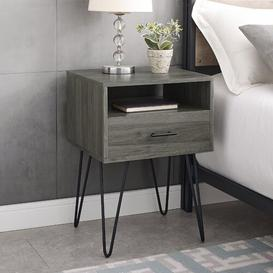 image-Kamille 1 Drawer Bedside Table Mercury Row Colour: Slate Grey