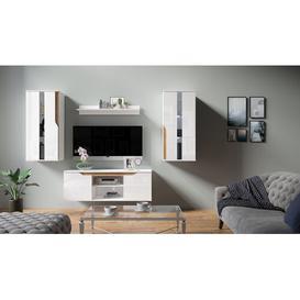 "image-Lassen Entertainment Unit for TVs up to 50\"" Mercury Row Colour: White Gloss/Golden Oak"