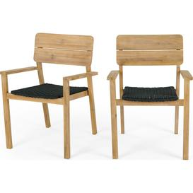 image-Jala Garden Set of 2 Dining Carver Chair, Acacia wood and Spun polyester