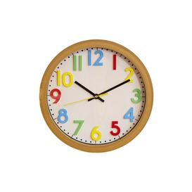 image-Wood Effect Childrens Wall Clock with 3D Dial