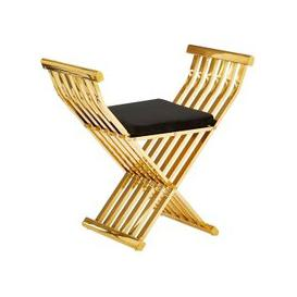 image-Fafnir Gold Cross Design Occasional Chair With Black Cushion