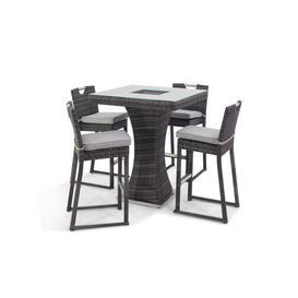 image-Mcdonagh Rattan 5 Piece Pub Table Set with Ice Bucket Dakota Fields Colour: Grey