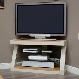 image-Z Solid Oak Grey Painted Corner TV Unit