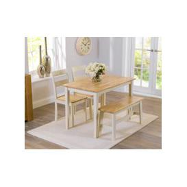 image-Chiltern 114cm Oak and Cream Dining Table with Bench and Chairs