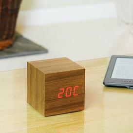image-Modern Digital Wood Electric Alarm Tabletop Clock Symple Stuff Finish: Teak/Red