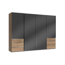 image-Moyd Wooden Sliding Wardrobe In Grey And Planked Oak 4 Doors
