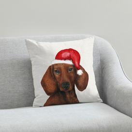 image-Dachshund Christmas Hat Cushion Natural